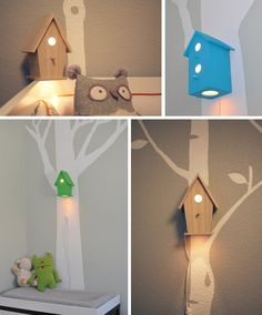 Baby Birdhouse Lamp I've just bought a plain birdhouse I could decorate to fit in with my little girls room
