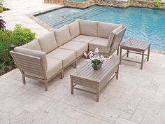 Nantucket 6 Pc. Aluminum Sectional Seating Group with 44 x 25 Slat Top Coffee Table