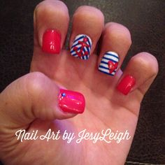 Red white and blue nails!