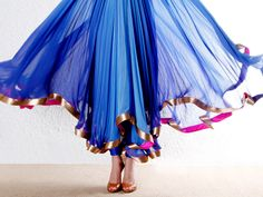 Blue chiffon shaded suit with zari detailing by Gyans on Indianroots.com