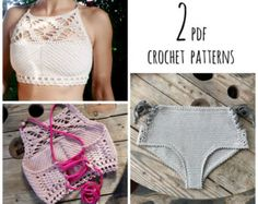 PDF-files for 2 Crochet PATTERNS, Luna cropped Crochet Top and Lorelei bikini top and Bottom, Sizes XS-L by CapitanaUncino on Etsy Top Crop Tejido En Crochet, Knit Crochet, Crochet Hooks, Crochet Summer, Crochet Chart, Crochet Patterns, Knitting Patterns, Crochet Clothes, Diy Clothes