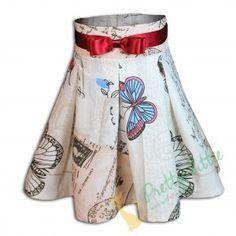 """Rock """"Sommertraum"""" Wunderbarer Rock mit aufgenähtem Satingürtel. Der Rock geht über die Knie und hat eine hohe Taille. Ein besonders schönes Muster aus Schmetterlingen, Briefmarken und Schriften machen diesen Rock einzigartig. Elegant, Boho Shorts, Trunks, Kitty, Rock, Swimwear, Women, Fashion, Beautiful Patterns"""