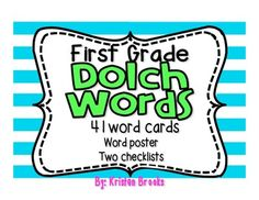 First Grade Dolch Word Cards and Assessment
