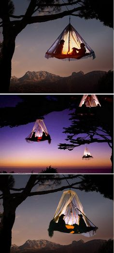 tree camping in Germany. This looks so fun but scary at the same time. One of these day I will do this :)