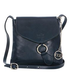 Navy O-Ring Leather Crossbody Bag #zulily #zulilyfinds