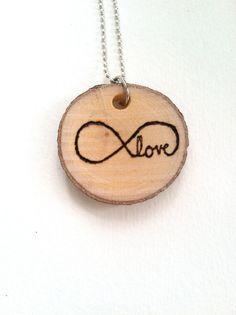 Wood burned wood slice infinity love pendant by AlyssaSurabian #woodburning #woodenpendant #infinity