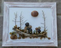 FREE SHIPPING  This will be made to order:  Sweet pebble art Family of Six enjoying the outdoors together, set on a hand painted backboard.  Materials used are real desert plants, dried moss, twigs, pebbles and rocks. The frame is open, measuring 8.5x11, painted in acrylics, and distressed. Ready to hang, or display on a table.  I always love special requests, and this type of work is wonderful for any occassion or gift idea. If you have any questions, please contact me.