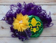 Mardi Gras Fat Tuesday Carnival Green Purple Gold by JadyBugBows, $11.99