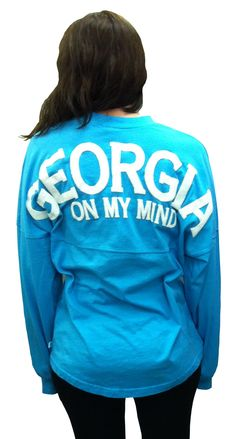 "Georgia+Spirit+Jersey.+Lagoon+Blue.+""Georgia+on+my+mind.""+100%+cotton.+Generous+fit. $39.99"