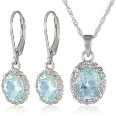 Amazon.com: Sterling Silver Blue and White Topaz Pendant and Earrings Set: Jewelry