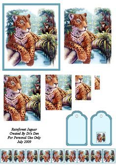 Tiger on a Limb Rainforest Jaguar, 3d Pyramid, Christmas Sheets, Image 3d, Pocket Pal, 3d Sheets, 3d Cards, Card Patterns, Card Maker
