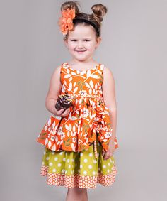 Orange & Green Maple Tenley Dress - Jelly the Pug, on zulily