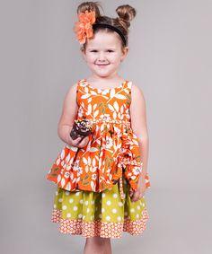 Orange & Green Maple Tenley Dress - Jelly the Pug, on zulily