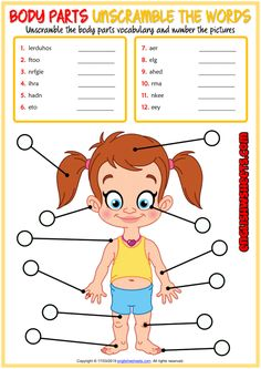 Body Parts ESL Printable Vocabulary Worksheets Vocabulary Games For Kids, Vocabulary Worksheets, Vocabulary Cards, Worksheets For Kids, English Vocabulary, English Lessons, Learn English, Body Parts For Kids, Unscramble Words