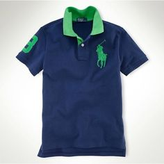 Ralph Lauren Black Big Pony Classic Leisure Green Stripe Polo