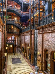 "The lobby of the Bradbury Building in downtown Los Angeles - recognize it from ""Blade Runner""?"