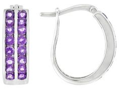 1.92ctw Round African Amethyst Sterling Silver Earrings
