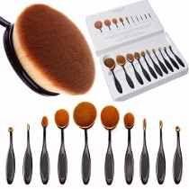 10 pç pincel oval escova maquiagem base similar mac marykay Eyeliner Brush, Lip Brush, Makeup Brush Set, Oval Brush Set, Brush Sets, Blusher Brush, It Cosmetics Foundation, Foundation Brush, Makeup Tricks