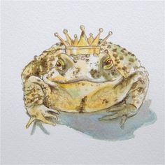 Toad Art Frog Prince of Toads Original Watercolor Painting Fairy Tale on Etsy, $65.00
