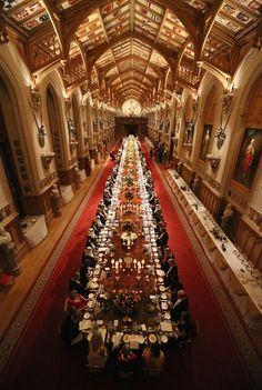Dinner at Windsor castle  boarding school grand dining room