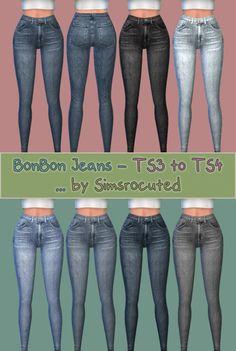 Bonbon jeans at simsrocuted via sims 4 updates sims 4 ting t Sims 4 Teen, Sims Four, Sims 4 Cas, Sims 3, The Sims 4 Jeans, Mods Sims, Sims 4 Cc Makeup, Sims4 Clothes, Sims 4 Cc Skin