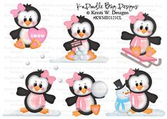 Winter Penguins, made to order, premade paper piecing, scrapbook, page, layout, border, boy, girl, snowman, snow