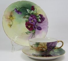 LIMOGES TEA CUP AND SAUCER & LUNCHEON PLATE W.G.&cO GREEN MARK Pansies #WmGUERINCOLIMOGES