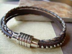 Triple Strand Leather Bracelet with by UrbanSurvivalGearUSA