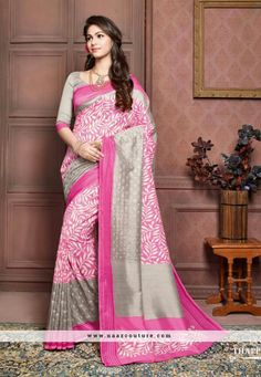 Groovy Grey And Pink Printed Party Wear Saree