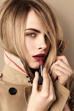 BURBERRY BEAUTY 1 - Dying to try out Burberry's new line of matte lipsticks. Love that burgundy shade on Cara Delevingne!