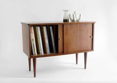 RESERVED for Sarah - Vintage Record Cabinet - Mid Century, Credenza, Wood, Book Shelf. $225.00, via Etsy.