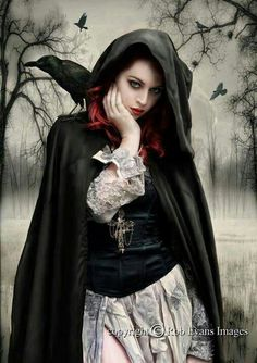 mysterious gothic woman art