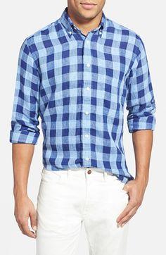 Men's Gitman Regular Fit Gingham Linen Sport Shirt