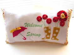 Welcome Spring word pillow Flower pillow Umbrella & by Itsewbella