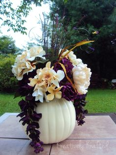 This such a gorgeous and creative decor idea for a fall wedding! (maybe i'm biased because I love purple :P) white pumpkin centerpiece arrangement Cream & purple Fall Wedding centerpiece Etsy KreativelyKrafted White Pumpkin Centerpieces, Fall Wedding Centerpieces, Wedding Table, Wedding Decorations, Wedding Ideas, Pumpkin Decorations, Centerpiece Flowers, Diy Centerpieces, Budget Wedding