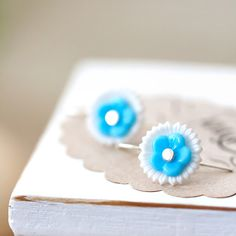 Blue and White Stacking Flower Earrings, Simple Jewelry, Mother's Day Gift, BFF Gift, Birthday Gift for Her Mom Sister Aunt under 30 dollars