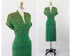 vintage 1940s dress // Lime Green Zebra Print Wiggle Dress with Pleated Hips and Pockets