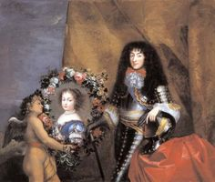 Philippe de France, Duc d'Orléans, aka Monsieur, brother of the king Louis XIV and his daughter Marie-Louise by Mignard.  Unabashedly effeminate and notoriously homosexual, he nonetheless fulfilled his dynastic duty by marrying twice and begetting several children. In fact, he was the founder of the House of Orléans, a cadet branch of the ruling House of Bourbon, and thus the direct ancestor of Louis Philippe I, who ruled France from 1830 till 1848 in the July Monarchy.