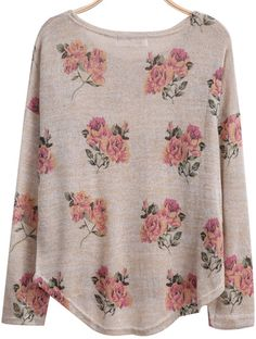 Aprioct Long Sleeve Florals Print Dipped Hem Knitwear - Sheinside.com Mobile Site