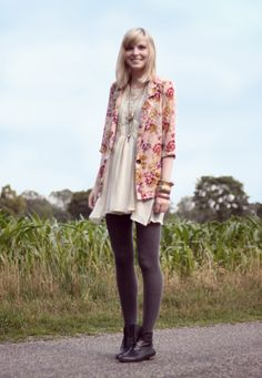 floral blazer over white dress