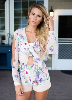 55b70784d89 Summertime Gladness Floral Romper Nude CLEARANCE