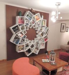 Beautiful mandala bookcase - just remember, your books will be better maintained if you set them upright, not on weird angles!