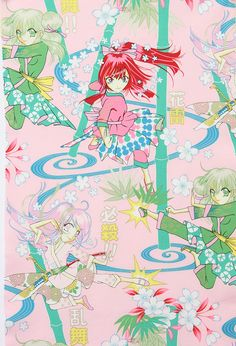 Alexander Henry - Indochine Collection - Thunder Flower - Pink/Gold - Japanese Anime Fabric