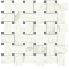 Basketweave Matt White w/ Grey Porcelain Mosaic Wall and Floor Tile ...