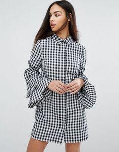 Платье-рубашка в клетку с ярусными рукавами Missguided