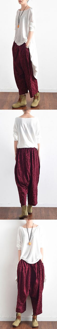 red asymmetric cotton harem pants oversize vintage pants