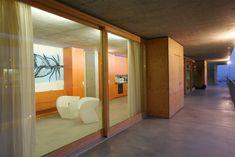 cool dorm hall in Mendrisio, Switzerland Student House, Hotel Interiors, College Dorm Rooms, Around The Worlds, Cool Stuff, Furniture, Switzerland, Design, Home Decor