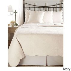 @Overstock.com - Cooper Cotton Solid Paisley 3-piece Quilt Set with Scalloped Edges - A solid color fabric with an all-over quilted paisley design and gently scalloped edges give a soft edge to this cotton quilt set. This quilt set blends in with the home decor perfectly.  http://www.overstock.com/Bedding-Bath/Cooper-Cotton-Solid-Paisley-3-piece-Quilt-Set-with-Scalloped-Edges/7992475/product.html?CID=214117 $49.99