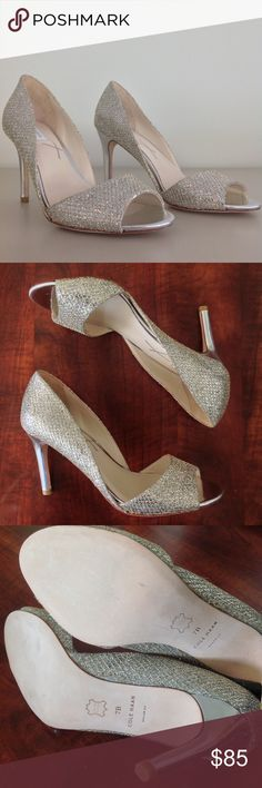 ✨HOST PICK ✨Cole Haan Open Toe Glitter Pump Cole Haan Antonia Silver and Gold Glitter peep toe heels! 👡 Great for wedding season! Women's size 7B. These really sparkle and stand out. Like-new condition. Cole Haan Shoes Heels