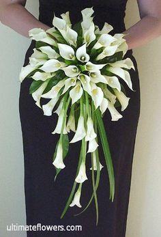 Calla lily bridal bouquet - cascade style
